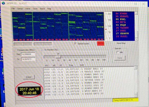 WSPR Transmitting on June 18th at 20:40 UTC